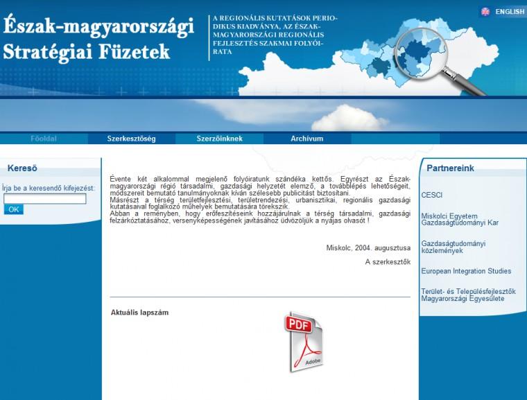 Észak-magyarországi stratégiai füzetek
